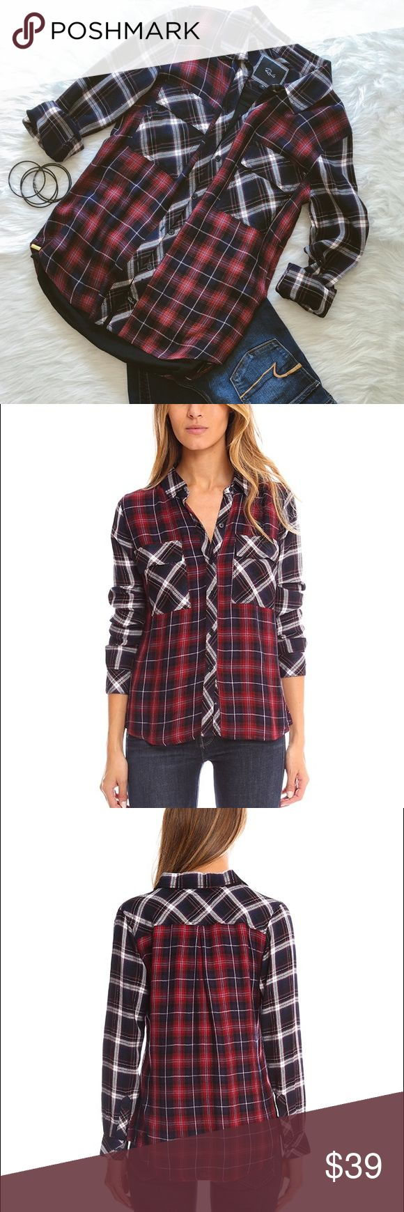 Rails Hunter Button Down XS Rails hunters button down. Size is X-small. The model is 5'9 wearing a size small. EUC.❌ No Trades ❌ No off Poshmark transactions ❤️ Bundle and save  Fast shipper ❤️ I love reasonable offers Rails Tops Button Down Shirts