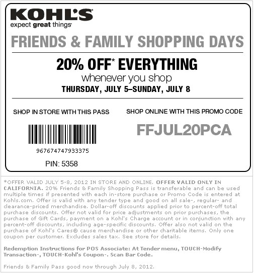 kohls coupons 20 off