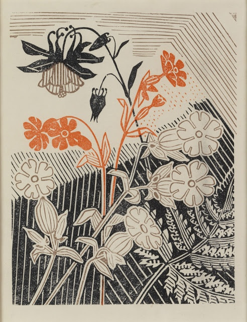 Edward Bawden (1903 – 1989) | Campions and Columbines linocut for Curwen Press | ART & ARTISTS: Edward Bawden - part 2