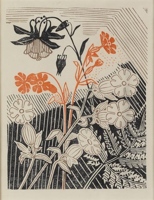 Edward Bawden (1903 – 1989)   Campions and Columbines linocut for Curwen Press   ART & ARTISTS: Edward Bawden - part 2