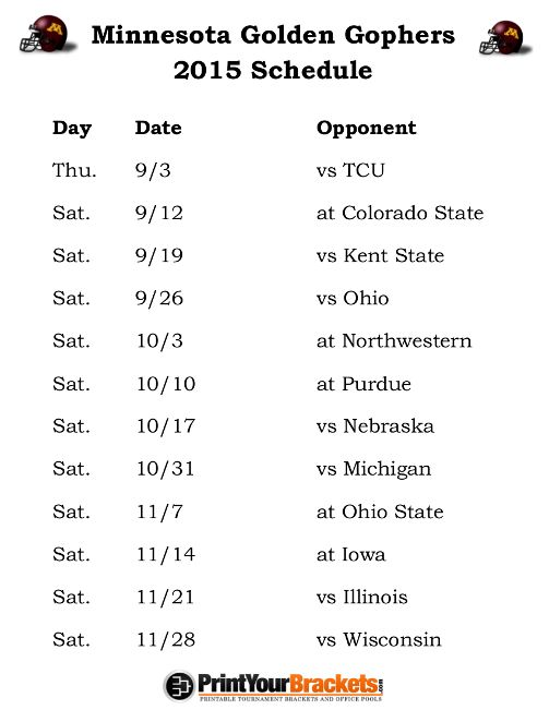 Printable Minnesota Golden Gophers Football Schedule 2015