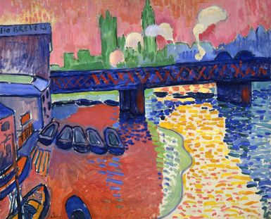 Fauvism - Art History 101 Basics: André Derain (French, 1880-1954). Charing Cross Bridge, London, 1906. Oil on canvas. 31 5/8 x 39 1/2 in. (80.3 x 100.3 cm). John Hay Whitney Collection. 1982.76.3. National Gallery of Art, Washington, D.C.