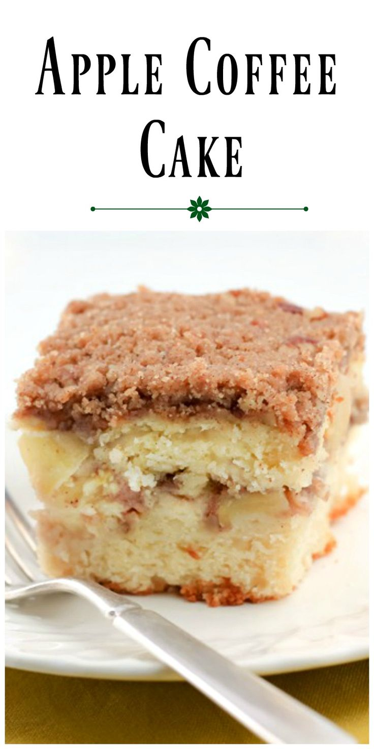 Apple Coffee Cake has a layer of streusel and apples in the center of the cake and a generous amount of streusel on top as well. via @https://www.pinterest.com/BunnysWarmOven/bunnys-warm-oven/