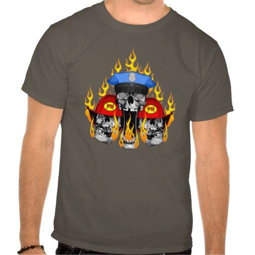 Police with Firefighter Skulls T Shirt, Hoodie Sweatshirt