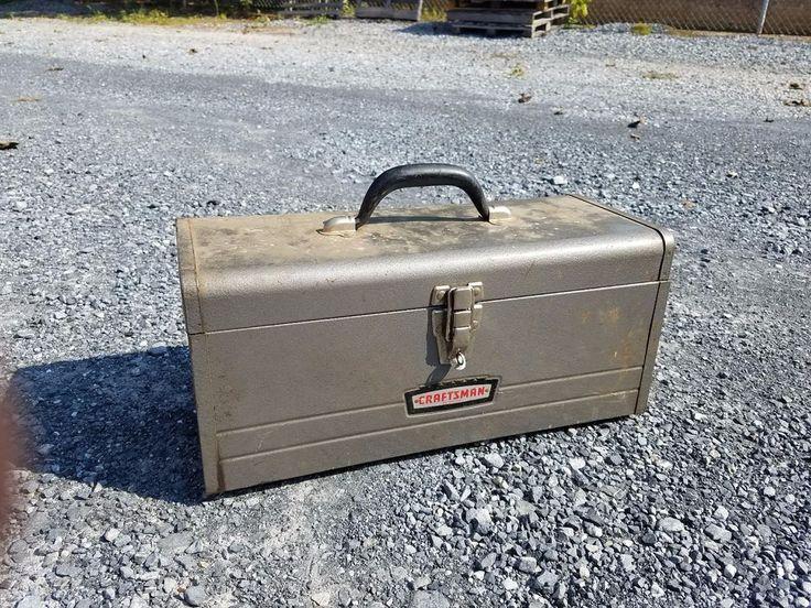 Vtg Industrial Metal Steel Tool Box Chest Tackle Fishing Carpenter Craftsman Old