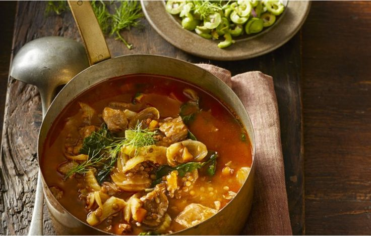 Veal is certainly a hearty delicacy. This soup features it along with lentils and a green salsa for a unique dish that always pleases.