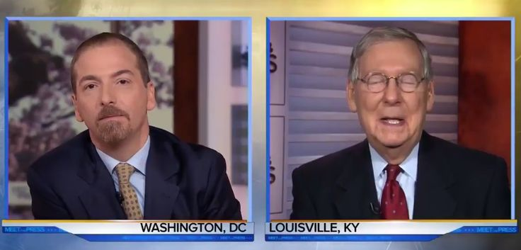 Senate Majority Leader Sen. Mitch McConnell (R-KY) fell apart and could only nervously laugh as Meet The Press host Chuck Todd called him out on not allowing a vote on Obama...
