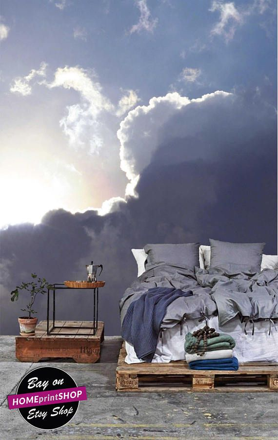 Amazing sky and cloudscape as the sun emerges amon - wall art decor - Removable Self Adhesive peel and stick wallpaper / wall murall #5
