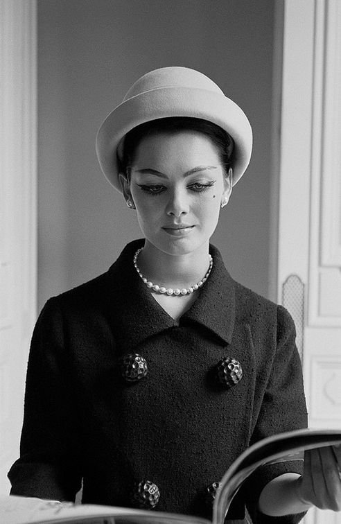 1960 Model in elegant boucle suit by Givenchy