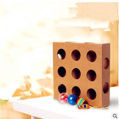 Pet Toys Interactive Educational Cat Toys Wholesale Wood Nine Holes Treasure Cat Toys with Mice 25*25*6CM