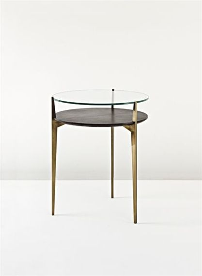 Jacques Quinet; Brass, Glass and Leather-Covered Wood Occasional Table, 1950.