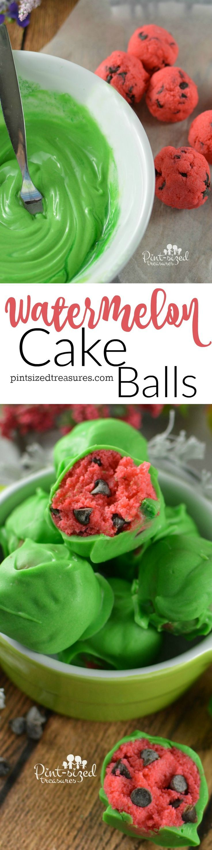 Gorgeous watermelon cake balls are a cinch to make! Take these to your next summer party and they'll be the hit of the dessert table! Too cute to miss! @Pint-sized Treasures