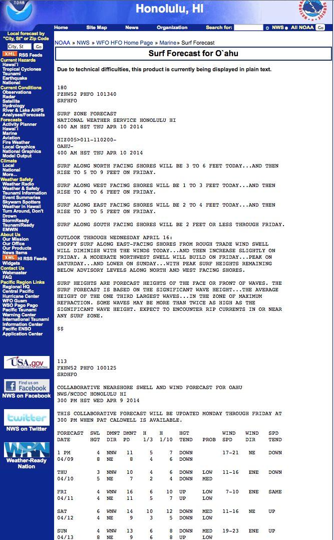 NOAA Oʻahu Surf Forecast #surfforecasting
