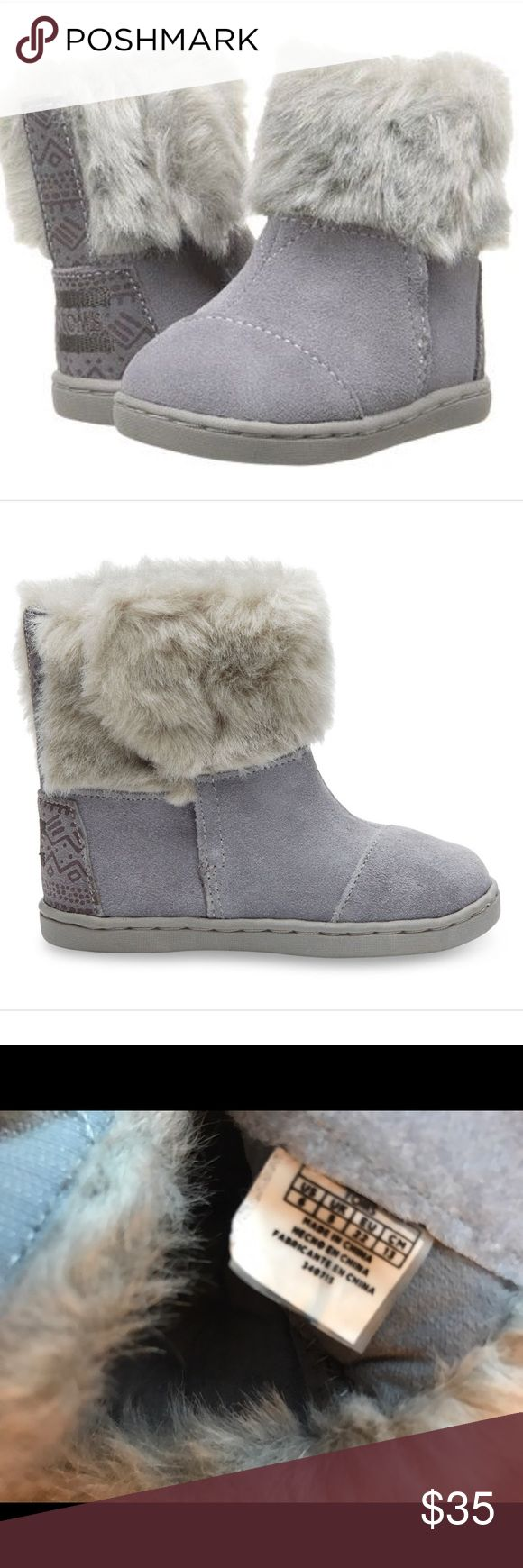 TOMS Nepal Boot NWT Gray Suede Faux Fur US6 These adorable boots have become hard to find & will suit any child needing super cute, warm, durable shoes for the rest of winter & early spring. TOMS Shoes Boots