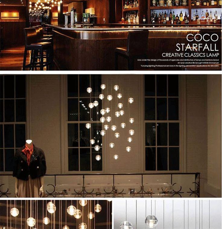 Aliexpress.com: Comprar Lámpara de araña de Cristal LLEVADO Bola Bocci Colgante Meteoric Ducha Escalera de Meteor Rain…