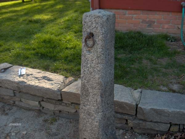 Antique Stone Granite Hitching Post At Olde New England