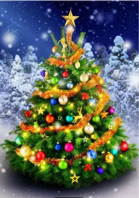 Us Seller 40x30cm Beautiful Christmas Tree Diamond Painting Kit Full Drill Diamond Art Round Drills In 2020 Cross Christmas Tree Christmas Tree Painting Christmas Tree