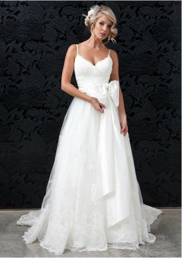 Weddbook ? White sweetheart neckline and spaghetti strap dupion silk wedding dress with lace ball gown and satin ribbon bow sash. sash bow silk sweetheart