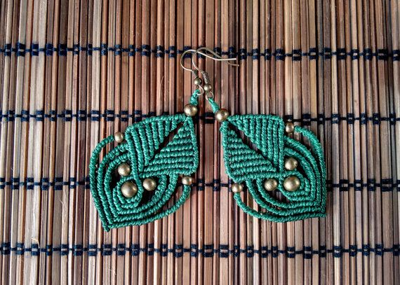Macrame earrings tribal earrings boho bohemian hippie by QuetzArt