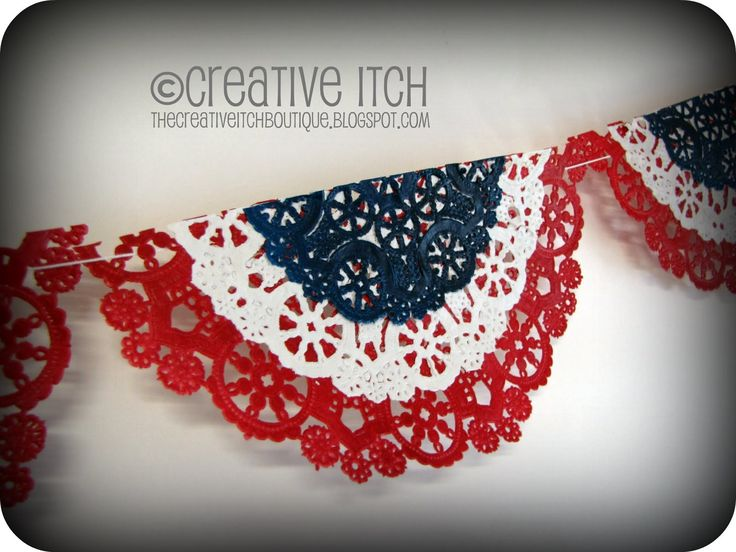 Creative Itch: Patriotic Doily Banner. Spray paint doilies, layer & string together. Use colors to match any occasion.