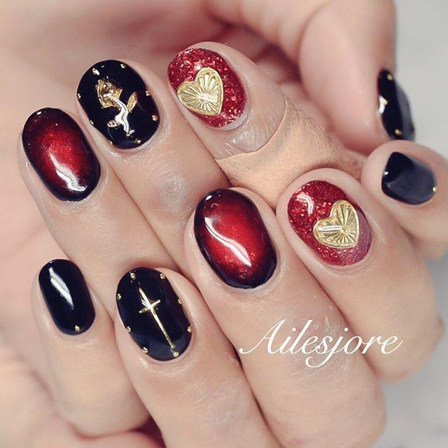 赤黒 本厚木ネイルサロン Ailesjoreエルジョワ nails Japan