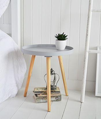 Portland grey bedside table