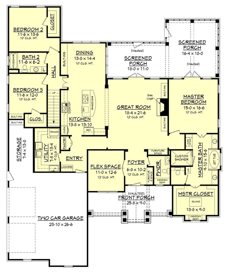 Craftsman Style House Plan - 3 Beds 2.5 Baths 2597 Sq/Ft Plan #430-148 Floor Plan - Main Floor Plan - Houseplans.com