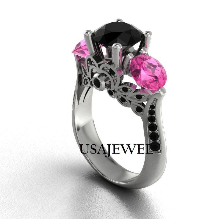 3.80 Ct Black and Baby Pink 925 Sterling silver by USAJEWEL, $100.00