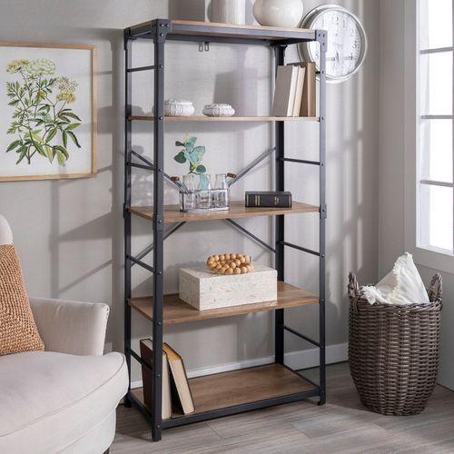 Rustic Oak Angle Iron Bookshelf