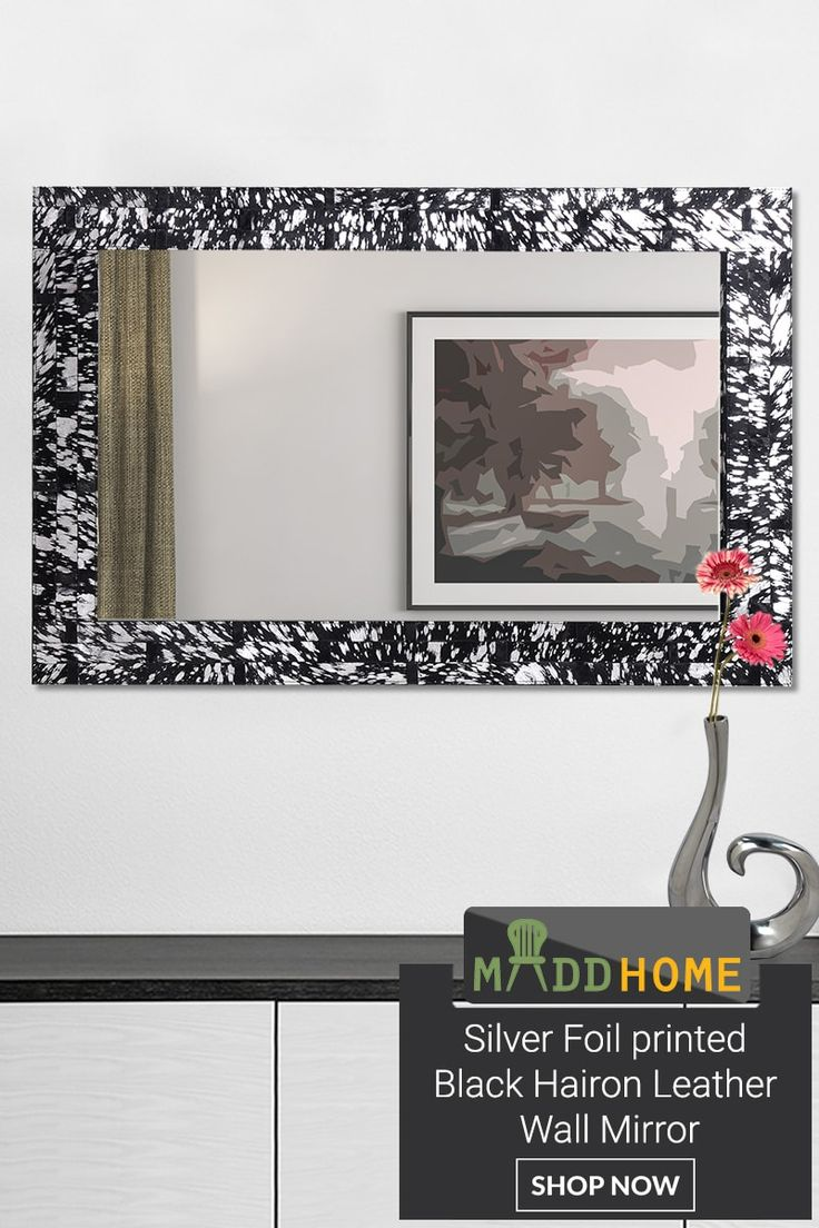 Silver Foil Printed Black Hairon Leather Wall Mirror