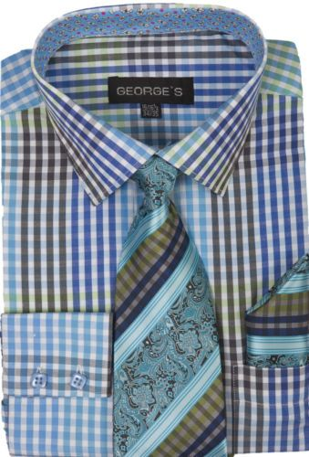 New-Mens-Check-Design-Dress-Shirt-With-Matching-Tie-Hanky-Georges-AH-627