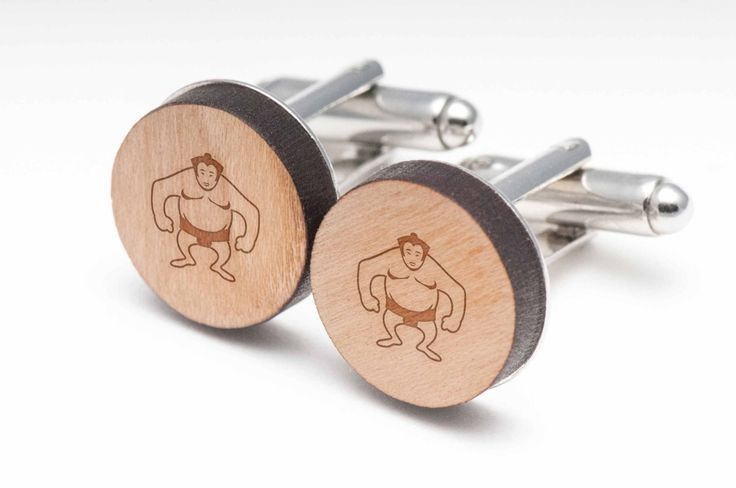 Sumo Wrestler Wood Cufflinks