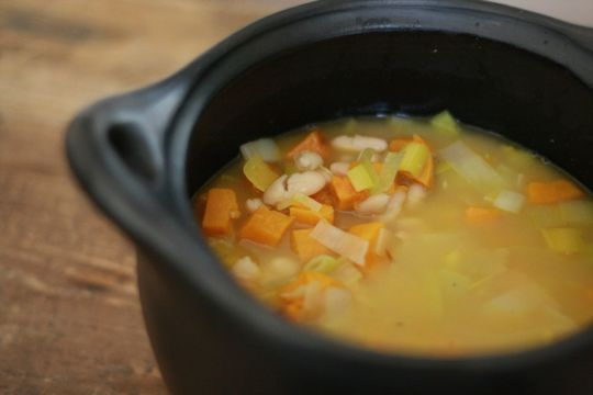 White Bean and Roasted Squash Soup with Pistou