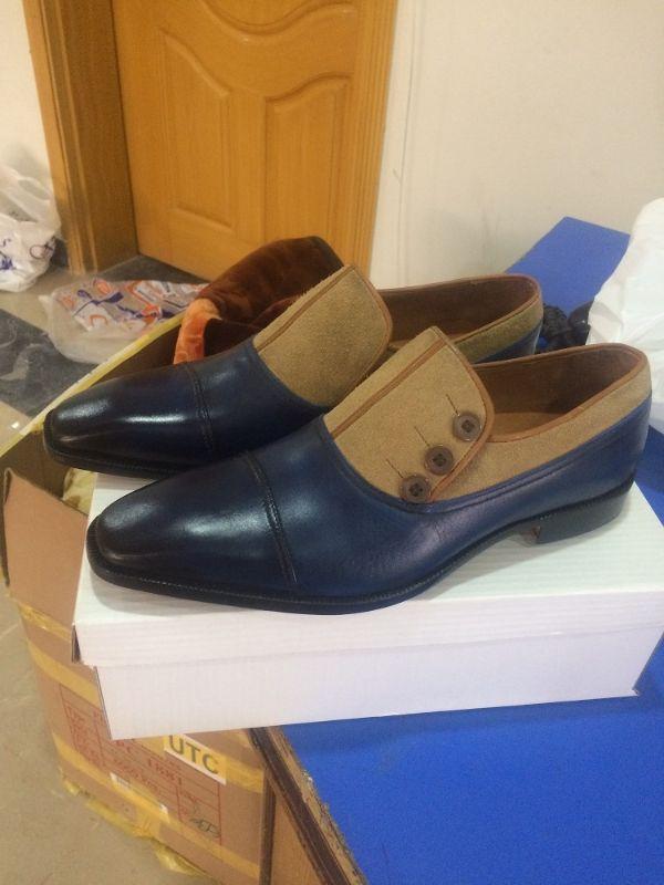 Handmade men two tone shoes, navy blue shoes, dress shoes men, beige suede shoes - Dress/Formal