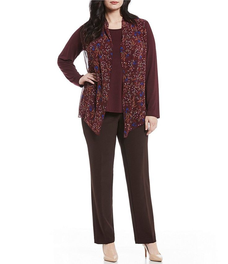 6671db8fc77 Investments Plus Size Essentials Floral Print Long Sleeve Cascade Front Top