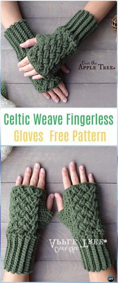 Crochet Celtic Weave Fingerless Gloves Free Pattern - Crochet Arm Warmer Free Patterns