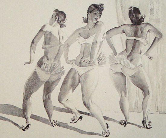 Этрадный танец. Бурлеск1935 годАкварельГрафика47,8x57,8 смКурская картинная галерея имени А.А.Дейнеки