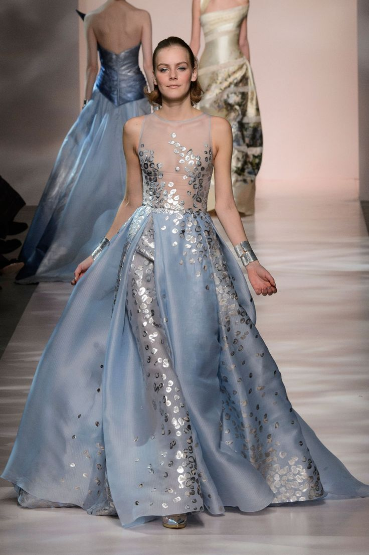 Georges Chakra | Spring 2015 Couture | 28 Blue embellished sleeveless maxi dress with sheer top