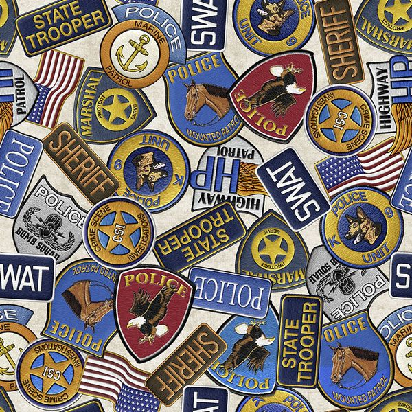 Protect and Serve Police Badges Cream