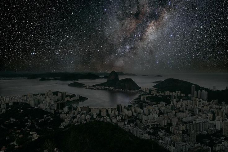 """A guess at what Rio de Janeiro would look like if everyone turned off the lights by French artist Thierry Cohen. From Series """"Darkened Cities""""."""