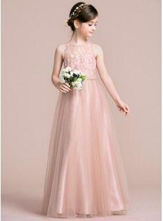 A-Line/Princess Scoop Neck Floor-Length Tulle Junior Bridesmaid Dress (009095100)