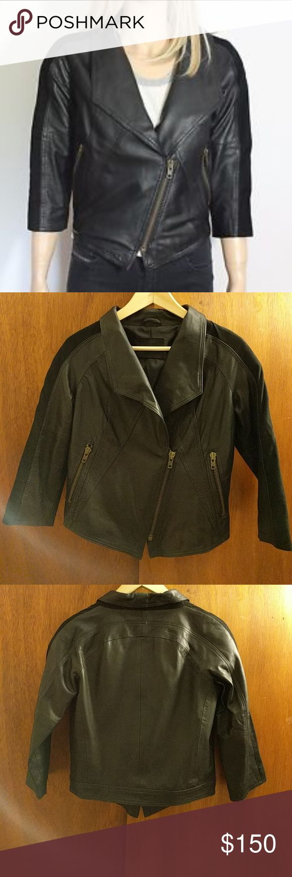 Short Leather Jacket Gestuz Short Leather Jacket. 3/4 Sleeves. Tag reads size 36 which is a 6 in US sizing. Excellent used condition, no rips or tears. Brand is Gestuz sold at Asos. ASOS Jackets & Coats Utility Jackets