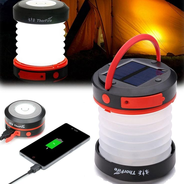 ThorFire Solar LED Camping Lantern USB Rechargeable Light for Outdoor Camping Hiking #CampingLantern