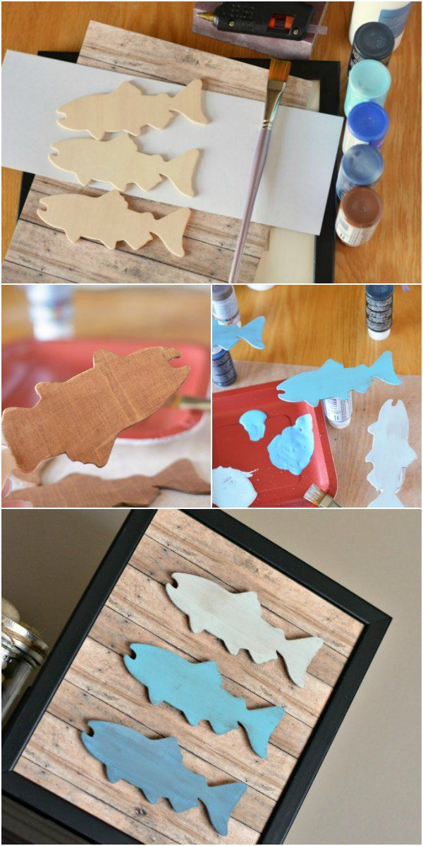 Make this easy DIY Father's Day fishing craft as a gift for the fisherman in your life! This rustic frame look is created using wooden fish and faux wood craft paper and is great for kids to help make.