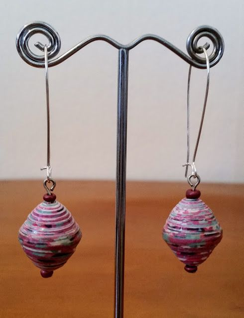 Pink, paper bead and seed bead earrings on kidney ear wires. $15.00 https://www.etsy.com/au/shop/JosFamilyJewels?ref=search_shop_redirect