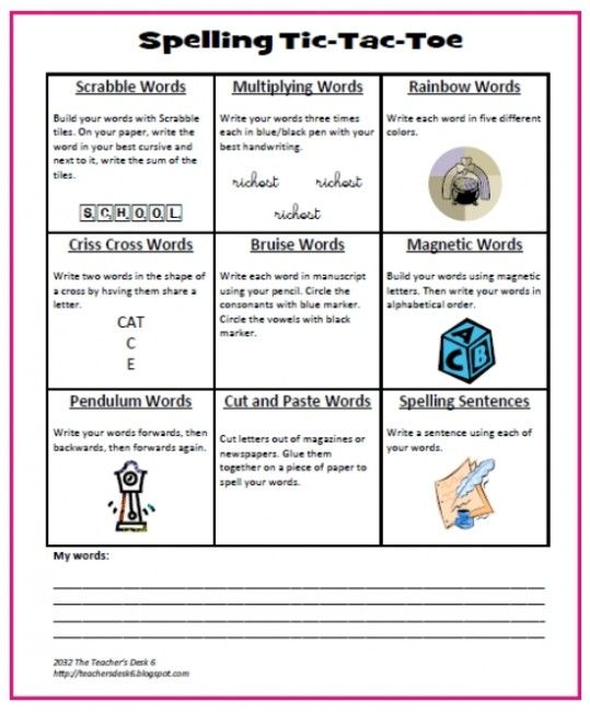 Creative Teaching Ideas – Add Yours! Spelling Tic Tac Toe