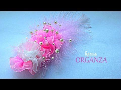 Брошь из Органзы Своими Руками | KANZASHI - YouTube