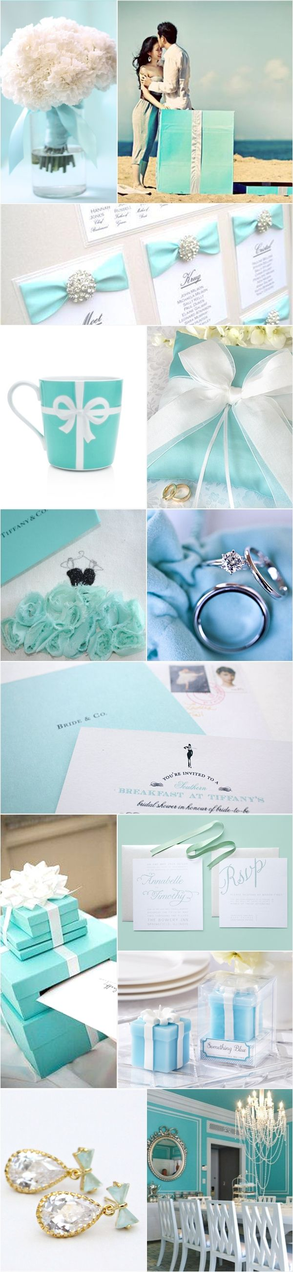 "The ""Tiffany blue"" has become one of the top dream wedding themes for modern brides.    Nothing says classic elegance and style quite like Tiffany's."