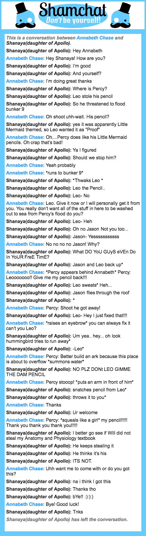 A conversation between Shanaya(daughter of Apollo) and Annabeth Chase