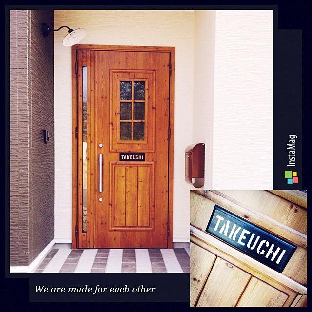 玄関 入り口 玄関ドア 表札 ステンシル ポスト などのインテリア実例